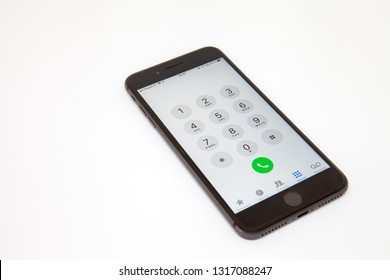 Moscow / Russia - February 19, 2019: the smartphone is on the table in dialing mode