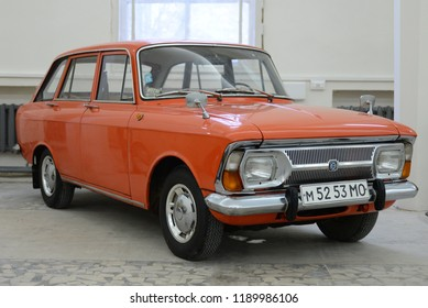 MOSCOW, RUSSIA - FEBRUARY 2, 2015: Izh-2125 Kombi made in USSR 1970s hatchback car at Soviet Russian old cars exhibition on VDHKh.
