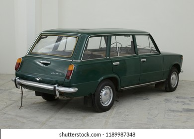 MOSCOW, RUSSIA - FEBRUARY 2, 2015: Lada 1200 Kombi (VAZ-2102) made in USSR 1970s car based on FIAT 124 Familiare Italian car at Soviet Russian old cars exhibition on VDHKh.