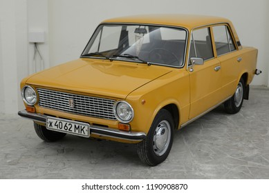 MOSCOW, RUSSIA - FEBRUARY 2, 2015: Lada 1300 VAZ-21011 Zhiguli made in USSR 1970s car based on Italian FIAT 124 at Soviet Russian old cars exhibition on VDHKh.