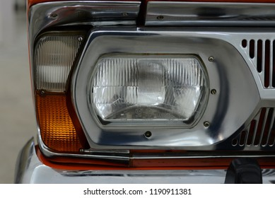 MOSCOW, RUSSIA - FEBRUARY 2, 2015: Izh-2125 Kombi headlight made in USSR 1970s hatchback car at Soviet Russian old cars exhibition on VDHKh.