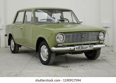 MOSCOW, RUSSIA - FEBRUARY 2, 2015: Lada 1200 VAZ-2101 Zhiguli made in USSR 1970s car based on FIAT 124 at Soviet Russian old cars exhibition on VDHKh.