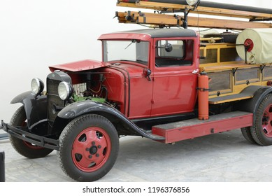 MOSCOW, RUSSIA - FEBRUARY 2, 2015: PMG-1 made in USSR 1930s fire engine based on GAZ-AA truck at Soviet Russian old cars exhibition on VDHKh.