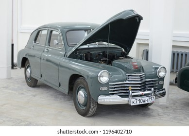 MOSCOW, RUSSIA - FEBRUARY 2, 2015: GAZ-M20 Pobeda made in USSR 1940s car with open bonnet at Soviet Russian old cars exhibition on VDHKh.