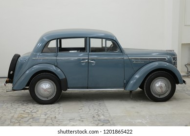 MOSCOW, RUSSIA - FEBRUARY 2, 2015: Moskvitch-401 made in USSR 1940s compact car based on pre-war Opel Kadett K38 car at Soviet Russian old cars exhibition on VDHKh.