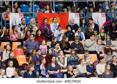 MOSCOW, RUSSIA - FEBRUARY 20, 2016: Unidentified spectators on tribunes during Rhythmic gymnastics Alina Cup Grand Prix