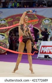 MOSCOW, RUSSIA - FEBRUARY 20, 2016: Monica Mickova, Czech Republic, ribbon, on Rhythmic gymnastics Alina Cup Grand Prix
