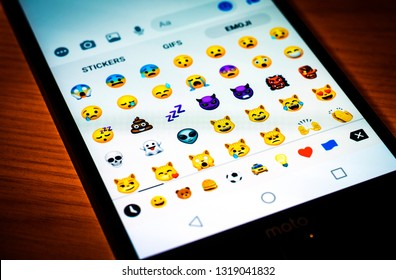 MOSCOW, RUSSIA - FEBRUARY 20, 2019: Emoji Facebook on the smartphone screen
