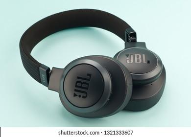Moscow, Russia - february 20, 2019: Headphones bluetooth JBL Live 500BT Black.