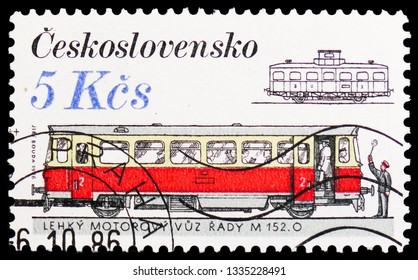 MOSCOW, RUSSIA - FEBRUARY 20, 2019: A stamp printed in Czechoslovakia shows Locomotives and Streetcars - M 152.0, Czechoslovakia Rolling Stock serie, circa 1986