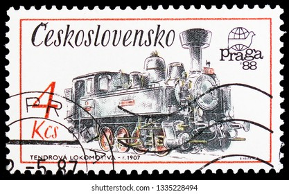 MOSCOW, RUSSIA - FEBRUARY 20, 2019: A stamp printed in Czechoslovakia shows Locomotive tender, 1907, Technical Monuments in Czechoslovakia serie, circa 1987