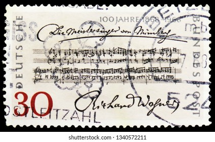 "MOSCOW, RUSSIA - FEBRUARY 20, 2019: A stamp printed in Germany, Federal Republic, shows Richard Wagner, Centenary of Wagner's ""The Mastersingers"" serie, circa 1968"