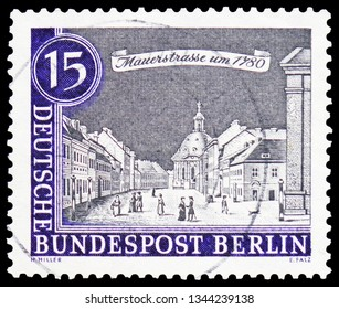 MOSCOW, RUSSIA - FEBRUARY 20, 2019: A stamp printed in Germany, Berlin, shows Wallstreet (approx. 1780), Old Berlin serie, circa 1963