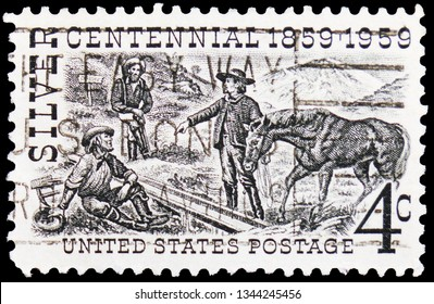 MOSCOW, RUSSIA - FEBRUARY 20, 2019: A stamp printed in USA shows Henry Comstock at Mount Davidson Site, Silver Centennial Issue serie, circa 1959