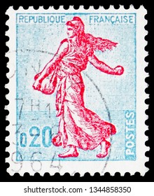 MOSCOW, RUSSIA - FEBRUARY 20, 2019: A stamp printed in France shows Sower of Piel (type II), Semeuse lined background, Agriculture serie, circa 1960