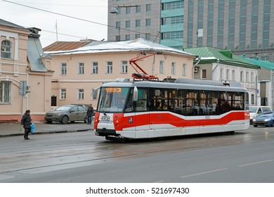 MOSCOW, RUSSIA - FEBRUARY, 2015: The tram LM-2008 (71-153) route 35 on the street Dubininskaya