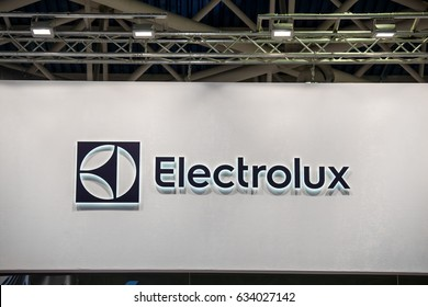 Moscow, Russia - February, 2016: AB Electrolux company logo on the wall. Electrolux is a Swedish multinational home appliance manufacturer