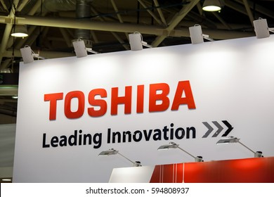 Moscow, Russia - February, 2016: Toshiba company logo on the wall. Toshiba is japanese producer of electronic components and materials, consumer electronics, household appliances, medical equipment