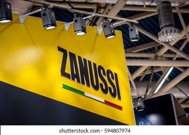 Moscow, Russia - February, 2016: Zanussi company logo on the wall. Zanussi is an Italian producer of home appliances