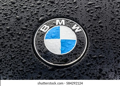 MOSCOW, RUSSIA FEBRUARY, 2017: Sign of a BMW logo on black car. BMW is a vehicle manufacturing company from Germany.