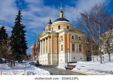 MOSCOW, RUSSIA -  FEBRUARY 2018: The Church of St. Barbara in Varvarka street