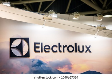 Moscow, Russia - February, 2018: Electrolux logo company sign on the wall. Electrolux AB is a Swedish multinational home appliance manufacturer