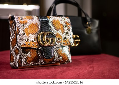 Moscow, Russia - February, 2019: Fashion Week Gucci shopping. Luxury Leather Bag In Store Gucci In Moscow.