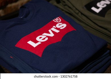 Moscow, Russia - February 2019: Fragments Fashion Apparel Levi's Strauss Signature Logo. Close-up, Selective Focus.