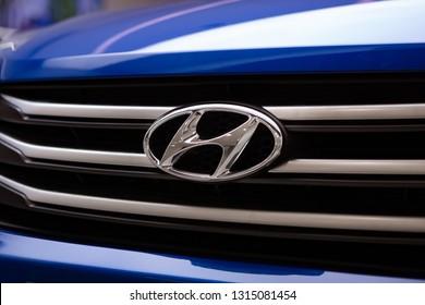 Moscow, Russia - February 2019: Hyundai Creta Logo Close-Up On Car Grill. Hyundai Automobile Manufacturer.