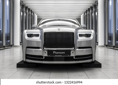 Moscow, Russia - February, 2019: The Rolls Royce Phantom VIII at dealer showroom
