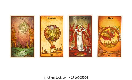 Moscow, Russia- February 2021:  Tarot cards Collection The Moon, the Sun,  Judgement, the World