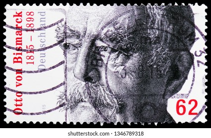 MOSCOW, RUSSIA - FEBRUARY 21, 2019: A stamp printed in Germany, Republic shows Otto Fürst von Bismarck (1815-1898), Bicentenary of birth serie, circa 2015
