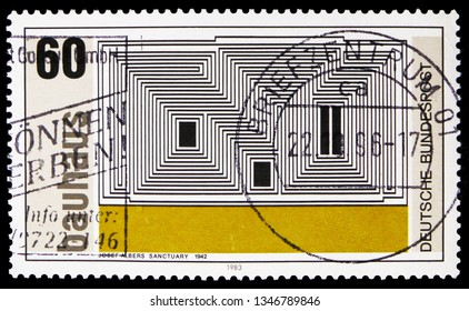 "MOSCOW, RUSSIA - FEBRUARY 21, 2019: A stamp printed in Germany, Republic shows ""Sanctuary"" (lithograph by Josef Albers), Walter Gropius, (founder of Bauhaus School of Art, Weimar) serie, circa 1983"