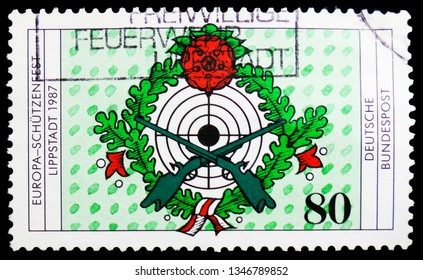 MOSCOW, RUSSIA - FEBRUARY 21, 2019: A stamp printed in Germany, Federal Republic shows Europa - Schützenfest (Protect), Seventh European Riflemen's Festival, Lippstadt serie, circa 1987