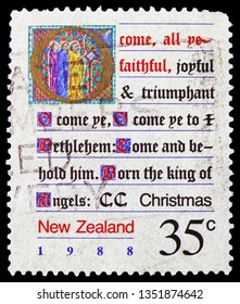 MOSCOW, RUSSIA - FEBRUARY 21, 2019: A stamp printed in New Zealand shows All Ye Faithful, Christmas serie, circa 1988