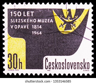 MOSCOW, RUSSIA - FEBRUARY 21, 2019: A stamp printed in Czechoslovakia devoted to 150th aniversary of Silesian museum, Opava, serie, circa 1964