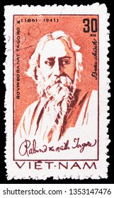 MOSCOW, RUSSIA - FEBRUARY 21, 2019: A stamp printed in Vietnam shows Rabindranath Tagore (1861-1941), poet, Great people serie, circa 1982