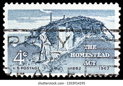MOSCOW, RUSSIA - FEBRUARY 21, 2019: A stamp printed in United States shows The Homestead Act, Homestead Act Centenary Issue serie, circa 1962
