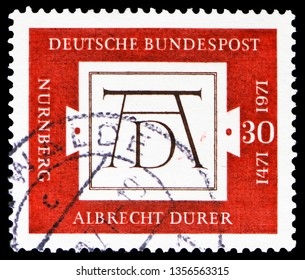 MOSCOW, RUSSIA - FEBRUARY 21, 2019: A stamp printed in Germany shows AD; Signum by Albrecht Durer (1471-1528), painter and graphic artist, 500th Birth Anniversary of Albrecht Durer, serie, circa 1971