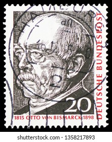 MOSCOW, RUSSIA - FEBRUARY 22, 2019: A stamp printed in Germany, Federal Republic shows Otto von Bismarck, 150th Birth Anniversary serie, circa 1965