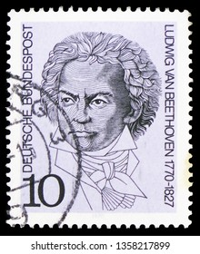 MOSCOW, RUSSIA - FEBRUARY 22, 2019: A stamp printed in Germany, Federal Republic shows Ludwig van Beethoven (1770–1827), Birth Bicentenaries serie, circa 1970