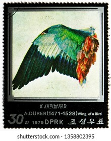 MOSCOW, RUSSIA - FEBRUARY 22, 2019: A stamp printed in Korea shows Wing of a Bird, Paintings by Albrecht Durer serie, circa 1979