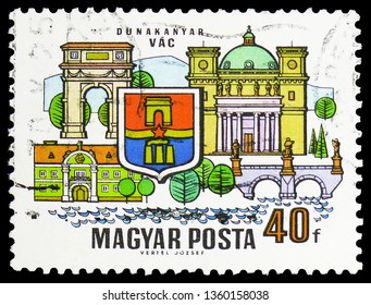 MOSCOW, RUSSIA - FEBRUARY 22, 2019: A stamp printed in Hungary shows Vac, Cities of the Dunakanyar serie, circa 1969