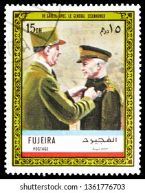 MOSCOW, RUSSIA - FEBRUARY 22, 2019: A stamp printed in Fujariah shows With Eisenhower, Charles de Gaulle serie, circa 1972