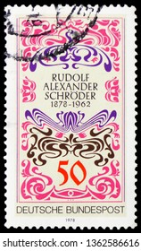 MOSCOW, RUSSIA - FEBRUARY 22, 2019: A stamp printed in Germany, Federal Republic shows Sign Alexander Schroder, Birth Centenary of Rudolf Alexander Schroder serie, circa 1978
