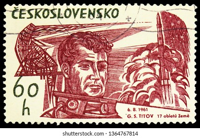 MOSCOW, RUSSIA - FEBRUARY 22, 2019: A stamp printed in Czechoslovakia shows G.S. Titov, start rakety Vostok, Space Research serie, circa 1964