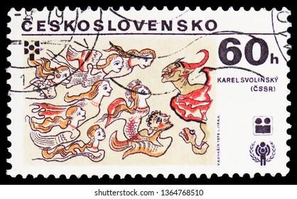 MOSCOW, RUSSIA - FEBRUARY 22, 2019: A stamp printed in Czechoslovakia shows Karel Svolinsky, Czechoslovakia, International Year of the Child serie, circa 1979
