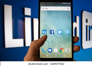 MOSCOW, RUSSIA - February 2,2017: Smartphone with Linkedin.com homepage on the screen. LinkedIn is a business-oriented social networking service