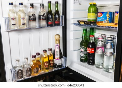 Moscow, Russia - February 23, 2017: mini bar with soft drinks, vodka, wine and beer in the hotel room or at home