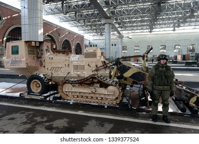 MOSCOW, RUSSIA - FEBRUARY 23, 2019: Captured from the Syrian terrorists self-propelled combat mine trawl Aardvark JSFU on the platform of the train